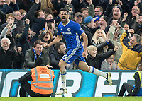 Football - 2016 / 2017 Premier League - Chelsea vs. Stoke City <br /> <br /> Diego Costa of Chelsea celebrates scoring his teams fourth goal at Stamford Bridge.<br /> <br /> COLORSPORT/DANIEL BEARHAM
