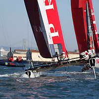 Practice session action with Team Luna Rossa – Piranha  at the America's Cup World Series in San Francisco. Mandatory Credit: Dinno Kovic