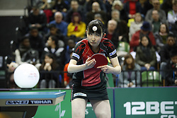 February 23, 2018 - London, England, United Kingdom - Hina HAYATA of Japan during ITTF Team World Cup match between Hina HAYATA of Japan and Mengyu YU of Singapore, Quarter Finals Women singles match on February 23, 2018 in Copper Box Arena, Olympic Park, London. (Credit Image: © Dominika Zarzycka/NurPhoto via ZUMA Press)