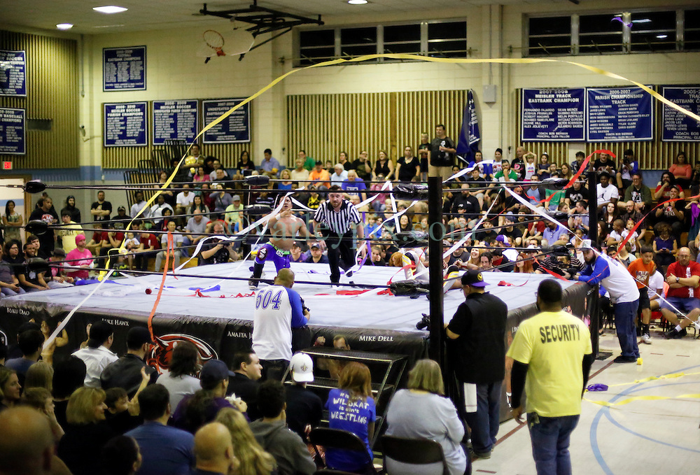 12 March 2016. Metairie, Louisiana.<br /> Wrestling action from Wildkat Sports and Entertainment's 'March into Mayhem' at the Meisler Middle School. The SituAsian, Bu Ku Dao defeats 'Hyperstreak' Greg Sharpe via submission.<br /> Photo&copy;; Charlie Varley/varleypix.com