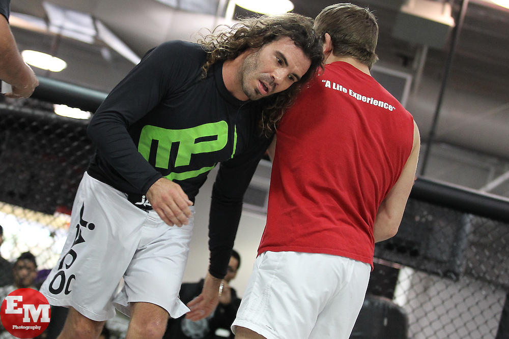 November 10, 2011; Rosemead, CA; USA; UFC lightweight contender Clay Guida works out for the media ahead of his upcoming fight against Ben Henderson.  The two will meet on Saturday night in the co-feature at the Honda Center in Anaheim, CA.