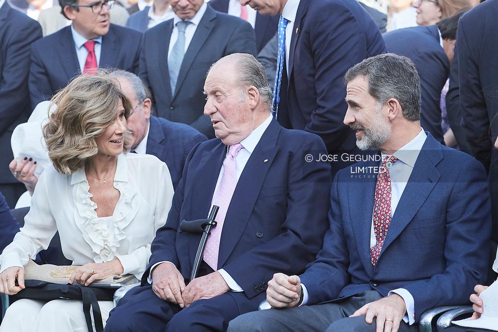 King Felipe VI of Spain, King Juan Carlos of Spain attended the Presentation of the COTEC Report at Vicente Calderon Stadium on June 12, 2017 in Madrid