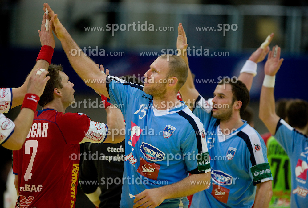 Ales Pajovic of Slovenia and Uros Zorman of Slovenia during the Men's Handball European Championship Main Round match between Slovenia and Czech republic at the Olympia Hall on January 24, 2009 in Innsbruck, Austria.  (Photo by Vid Ponikvar / Sportida) - on January 2010