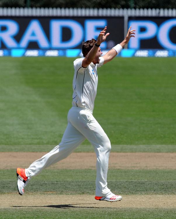 New Zealand's Tim Southee celebrates the wicket of Sri Lanka's Angelo Mathews for 2 on day three of the second International Cricket Test, Seddon Park, Hamilton, New Zealand, Sunday, December 20, 2015. Credit:SNPA / Ross Setford
