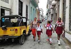 Old Havana, Cuba. Havana vieja, street. kids, children, pioneer, school