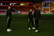 Portsmouth players inspecting the pitch during the EFL Trophy match between Walsall and Portsmouth at the Banks's Stadium, Walsall, England on 7 January 2020.