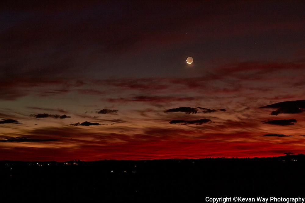 moon setting over Nashua
