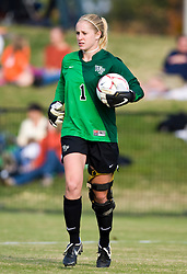 Wake Forest Demon Decons Goalkeeper Laura Morse (1) in action against UVA.  The Wake Forest Demon Deacons defeated the #11 ranked Virginia Cavaliers 1-0 NCAA women's soccer at Klockner Stadium on the Grounds of the University of Virginia in Charlottesville, VA on November 2, 2008.