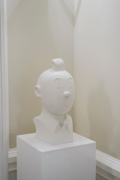 Bust of famous cartoon character Tintin outside the doorway private rooms of French Ambassador's residence in the Kalorama neighborhood of Washington D.C. France acquired the residence in 1936.