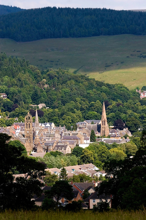 Summer scene overlooking the picture perfect town of Peebles in the Scottish Borders