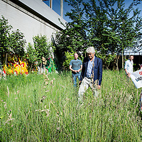 Nederland, Amsterdam, 6 juni 2016.<br /> Boze buurtbewoners van het Haarlemmerplein maken zich zorgen om hun groenvoorziening in een soort van achtertuin.<br /> Er zijn plannen om er een studentenflat te bouwen.<br /> <br /> Een mevrouw loopt met een spandoek met de tekst: Oranje blijf van ons groen af. <br /> <br /> Foto: Jean-Pierre Jans