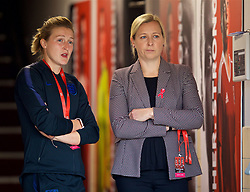 NEWPORT, WALES - Friday, August 31, 2018: Wales' manager Jayne Ludlow (right) and England's Ellen White (left) before the FIFA Women's World Cup 2019 Qualifying Round Group 1 match between Wales and England at Rodney Parade. (Pic by David Rawcliffe/Propaganda)