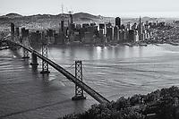 Classic SF Skyline with Bay Bridge (monochrome)