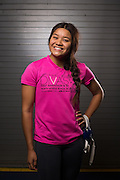 Junior Claire Delacruz poses for a portrait during wrestling practice at Milpitas High School in Milpitas, California, on December 11, 2015. (Stan Olszewski/SOSKIphoto)