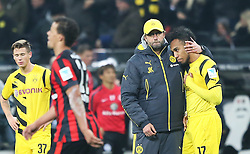30.11.2014, Commerzbank Arena, Frankfurt, GER, 1. FBL, Eintracht Frankfurt vs Borussia Dortmund, 13. Runde, im Bild vl. Trainer Juergen Klopp (Borussia Dortmund) Pierre-Emerick Aubameyang (Borussia Dortmund) enttaeuscht, enttaeuscht schauend nach dem Spiel // during the German Bundesliga 13th round match between Eintracht Frankfurt vs Borussia Dortmund at the Commerzbank Arena in Frankfurt, Germany on 2014/11/30. EXPA Pictures © 2014, PhotoCredit: EXPA/ Eibner-Pressefoto/ Voelker<br /> <br /> *****ATTENTION - OUT of GER*****
