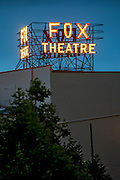 The new Fox Fullerton Marquee lit for the first time.