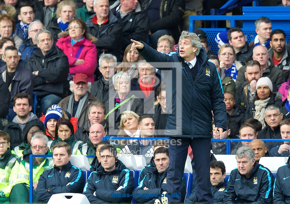 Manager Manuel Pellegrini of Manchester City during the FA Cup match at Stamford Bridge, London<br /> Picture by Alan Stanford/Focus Images Ltd +44 7915 056117<br /> 21/02/2016