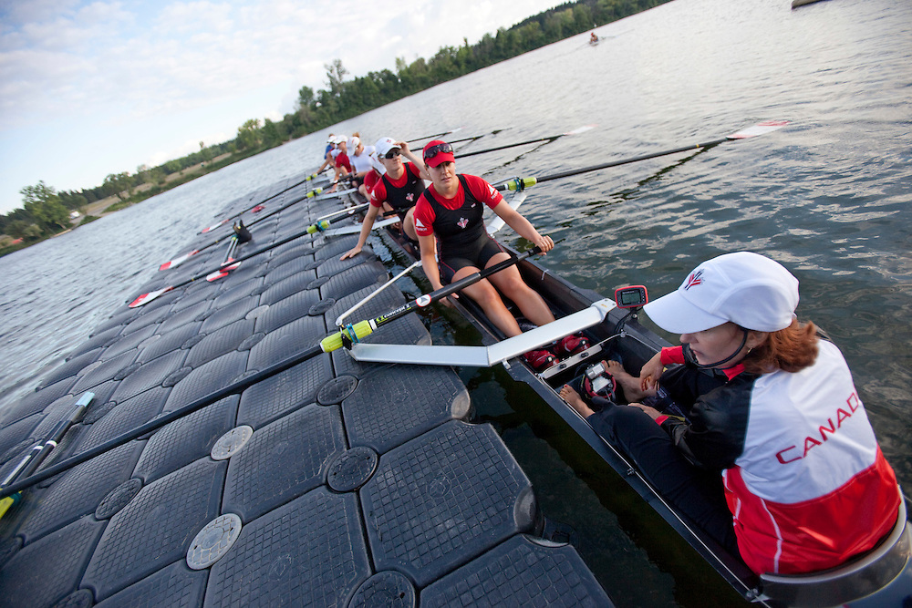 London, Ontario ---11-08-10---  Cox Lesley Thompson- Willie, right, and the rest of Canada's women's 8 rowing team, from front, Janine Hanson, Cristy Nurse, Natalie Mastracci,  Rachelle Viinberg, Krista Guloien, Ashley Brzozowicz, Darcy Marqvardt, Andreanne Morin prepare to take to the waters of Fanshawe Lake fin London, Ontario or a practice, August 10, 2011.<br /> GEOFF ROBINS The Globe and Mail