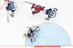 Patrick Thoresen of Norway vs Topi Jaakola of Finland, Pekka Rinne of Finland and Atte Ohtamaa of Finland during Ice Hockey match between Norway and Finland at Day 4 in Group B of 2015 IIHF World Championship, on May 4, 2015 in CEZ Arena, Ostrava, Czech Republic. Photo by Vid Ponikvar / Sportida