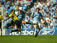Photo Aidan Ellis.<br />Manchester City v Aston Villa.<br />FA Barclaycard Premiership.<br />14/09/2003.<br />Villa's Gavin Mcann and City's Steve McManaman