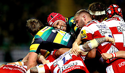 Christian Day of Northampton Saints looks in pain as the Northampton Saints and Gloucester Rugby packs maul - Mandatory by-line: Robbie Stephenson/JMP - 28/10/2016 - RUGBY - Franklin's Gardens - Northampton, England - Northampton Saints v Gloucester Rugby - Aviva Premiership