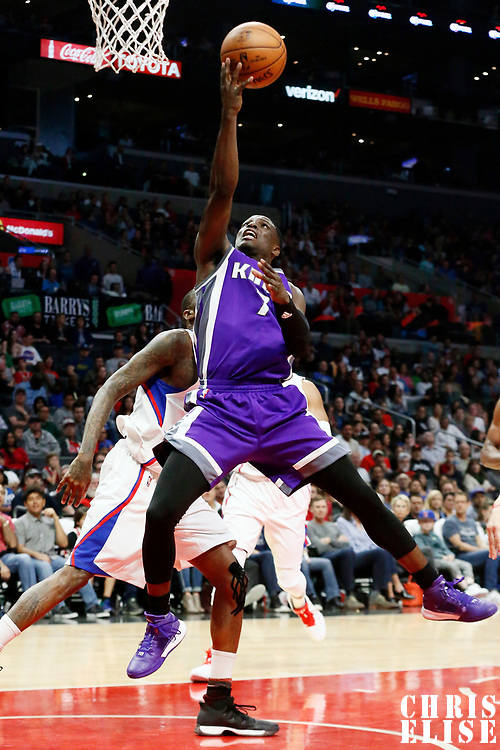 26 March 2016: Sacramento Kings guard Darren Collison (7) goes for the layup during the Sacramento Kings 98-97 victory over the Los Angeles Clippers, at the Staples Center, Los Angeles, California, USA.