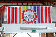 General stadium view inside Griffin Park showing the Bee Yourself banner of the LGBT Bees, before the EFL Sky Bet Championship match between Brentford and Bolton Wanderers at Griffin Park, London, England on 22 December 2018.