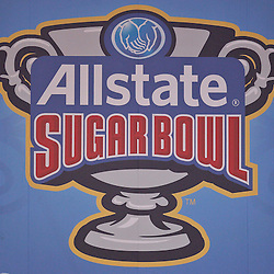 January 4, 2011; New Orleans, LA, USA;  A Sugar Bowl banner displayed at the 2011 Sugar Bowl between the Ohio State Buckeyes and the Arkansas Razorbacks at the Louisiana Superdome.  Mandatory Credit: Derick E. Hingle