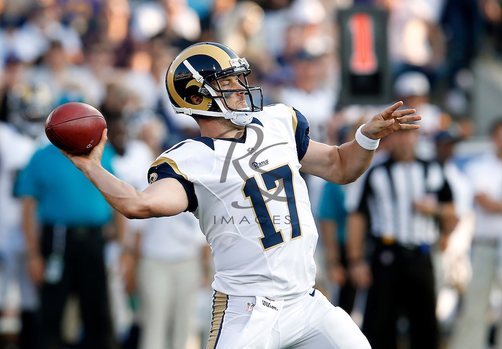 Los Angeles Rams quarterback Case Keenum passes during the first half of a preseason NFL football game against the Kansas City Chiefs, Saturday, Aug. 20, 2016, in Los Angeles. (AP Photo/Rick Scuteri)