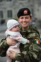 Private Rebecca Coogan and her 4month old Niece Mollie Behan at the ceremony at the Cathedral in Galway before deployment to the Golan Heights in Syria. Photo:Andrew Downes, XPOSURE