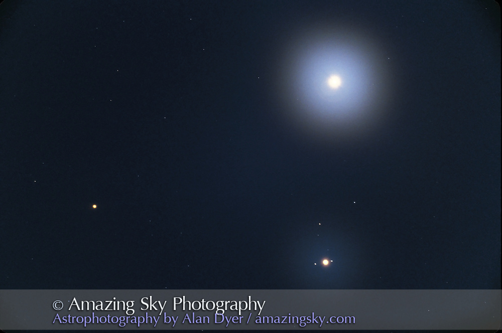 Triple planet conjunction, June 17, 1991..Venus at top, Jupiter below, Mars at left. Haze or light cloud added glows around planets. ..Taken at prime focus through Takahashi 76mm f/8 apo refractor. Exposure and film not recorded.
