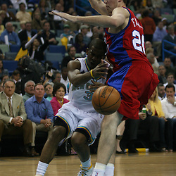 15 April 2008: New Orleans Hornets guard Chris Paul #3 loses the ball as he drives in on Nick Fazekas #20 of the Los Angeles Clippers in the first quarter of the Hornets 114-92 win over the Clippers at the New Orleans Arena in New Orleans, Louisiana.