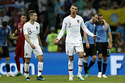 (l-r) Raphael Guerreiro of Portugal, Cristiano Ronaldo of Portugal during the 2018 FIFA World Cup Russia round of 16 match between Uruguay and at the Fisht Stadium on June 30, 2018 in Sochi, Russia