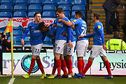 Goal - Jamal Lowe (10) of Portsmouth celebrates scoring a goal to give a 1-0 lead to the home team with Ronan Curtis (11) of Portsmouth during the EFL Sky Bet League 1 match between Portsmouth and AFC Wimbledon at Fratton Park, Portsmouth, England on 1 January 2019.