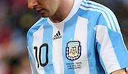 Close up of the shirt of Lionel Messi of Argentina showing the Argentina national badge