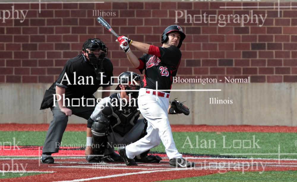26 April 2014:  batter Jack Czeszewski in front of Matt Jones and umpire Bret Bruington during an NCAA Division 1 Missouri Valley Conference (MVC) Baseball game between the Southern Illinois Salukis and the Illinois State Redbirds in Duffy Bass Field, Normal IL