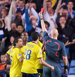 LONDON, ENGLAND - Wednesday, May 6, 2009: Barcelona's Eric Abidal is shown the red card by referee Tom Henning Ovrebo during the UEFA Champions League Semi-Final 2nd Leg match against Chelsea at Stamford Bridge. (Photo by David Rawcliffe/Propaganda)