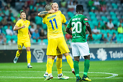 Tonci Mujan of NK Domzale and Senijad Ibricic of NK Domzale during football match between NK Olimpija and NK Domzale in 2nd Round of Prva liga Telekom Slovenije 2019/20, on July 21st, 2019, in Stadium Stozice, Ljubljana, Slovenia. Photo by Grega Valancic / Sportida