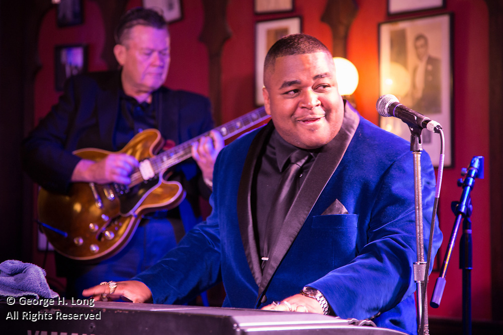 Al 'Lil' Fats' Jackson performs at the French Quarter Festival gala at Antoine's restaurant on March 15, 2018; photo ©2018, George H. Long