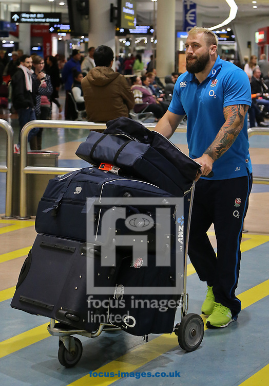 Joe Marler of the England rugby union team arrives at Auckland Airport, Auckland<br /> Picture by Trevor Wright/Focus Images Ltd +33 6841 92222<br /> 29/05/2014