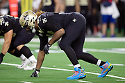 New Orleans Saints defensive end Cameron Jordan (94) gets set in a three point stance during the NFL week 13 regular season football game against the Dallas Cowboys on Thursday, Nov. 29, 2018 in Arlington, Tex. The Cowboys won the game 13-10. (©Paul Anthony Spinelli)