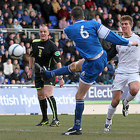 Kevin James scores for St Johnstone in the Scottish First Division match against Gretna on 27th January 2007. McDiarmid Park Perth