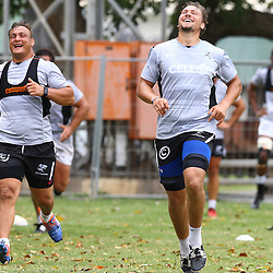 DURBAN, SOUTH AFRICA - JANUARY 13: Coenie Oosthuizen with Etienne Oosthuizen during the Cell C Sharks training session at Growthpoint Kings Park on January 13, 2017 in Durban, South Africa. (Photo by Steve Haag/Gallo Images)