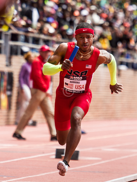 Penn Relays, USA vs the World, mens 4 x 100 meter relay, Michael Rodgers