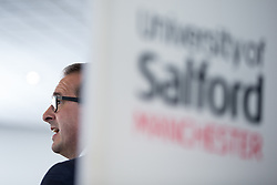© Licensed to London News Pictures . 15/08/2016 . Salford , UK . Labour leadership candidate OWEN SMITH delivers a speech on the National Health Service , at the Mary Seacole Building at Salford University . Photo credit : Joel Goodman/LNP