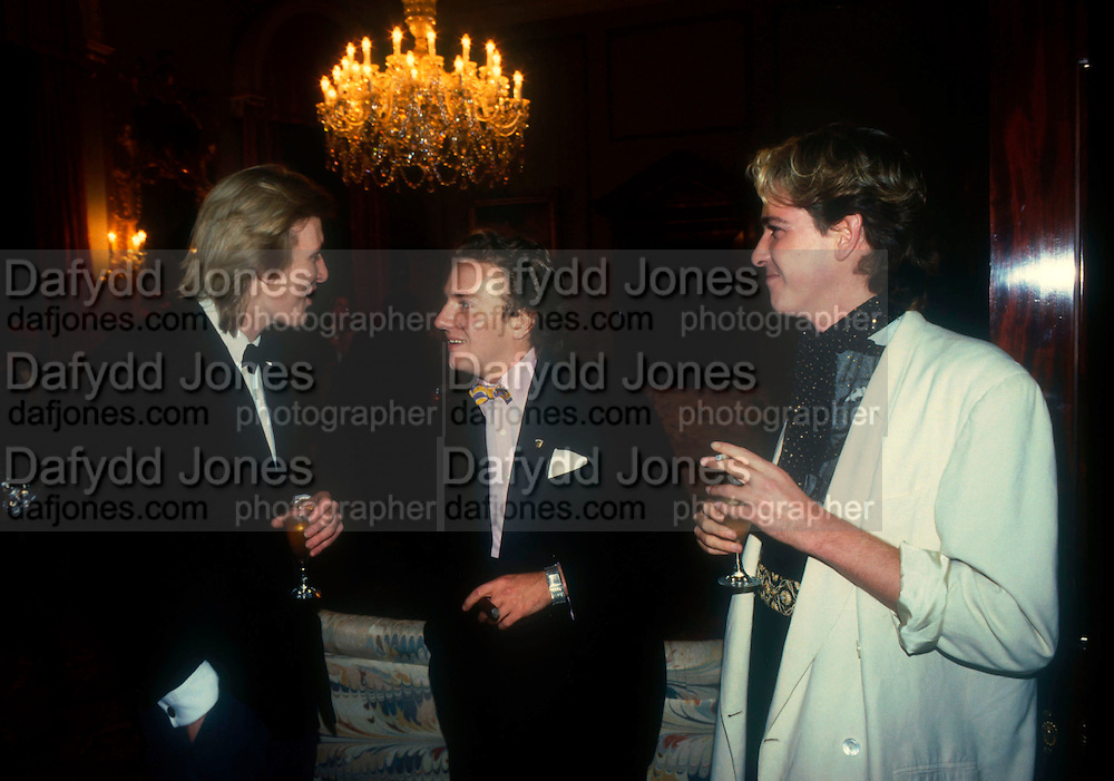 Willy Nickerson, Earl Jermyn and Mark Finzell. Marriage of Earl Jermyn later Marquis of Bristol)  to Francesca Fisher, Wedding Ball, Ickworth. 1984. © Copyright Photograph by Dafydd Jones 66 Stockwell Park Rd. London SW9 0DA Tel 020 7733 0108 www.dafjones.com