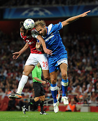 28.09.2011, Emirates Stadium, London, ENG, UEFA CL, Gruppe F, FC Arsenal (ENG) vs Olympiakos Piräus (GRE), im Bild Arsenal's Marouane Chamakh in action against Olympiacos // during the UEFA Champions League game, group F, ENG, UEFA CL, FC Arsenal (ENG) vs Olympiakos Piräus (GRE) at Emirates Stadium in London, United Kingdom on 2011/09/28. EXPA Pictures © 2011, PhotoCredit: EXPA/ Propaganda Photo/ Chris Brunskill +++++ ATTENTION - OUT OF ENGLAND/GBR+++++