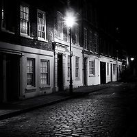 Cobbled street at night, shoreditch, london, uk