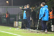 Forest Green Rovers manager, Mark Cooper gives instructions during the Vanarama National League match between Forest Green Rovers and Tranmere Rovers at the New Lawn, Forest Green, United Kingdom on 22 November 2016. Photo by Shane Healey.