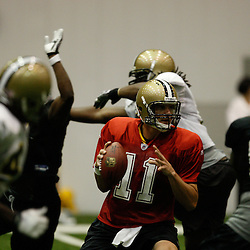July 30, 2010; Metairie, LA, USA; New Orleans Saints quarterback Patrick Ramsey (11) during a training camp practice at the New Orleans Saints indoor practice facility. Mandatory Credit: Derick E. Hingle